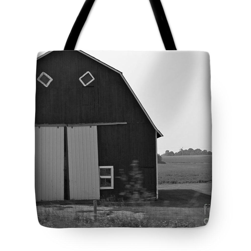 Barn Tote Bag featuring the photograph Big Tooth Barn Black And White by Pamela Walrath