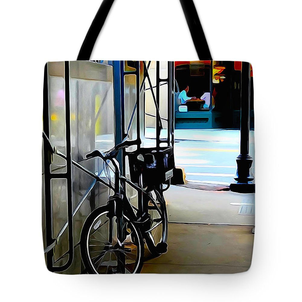 Bike Tote Bag featuring the photograph Bike - Scaffold - Lunchers - Water Color Conversion by Mark Valentine