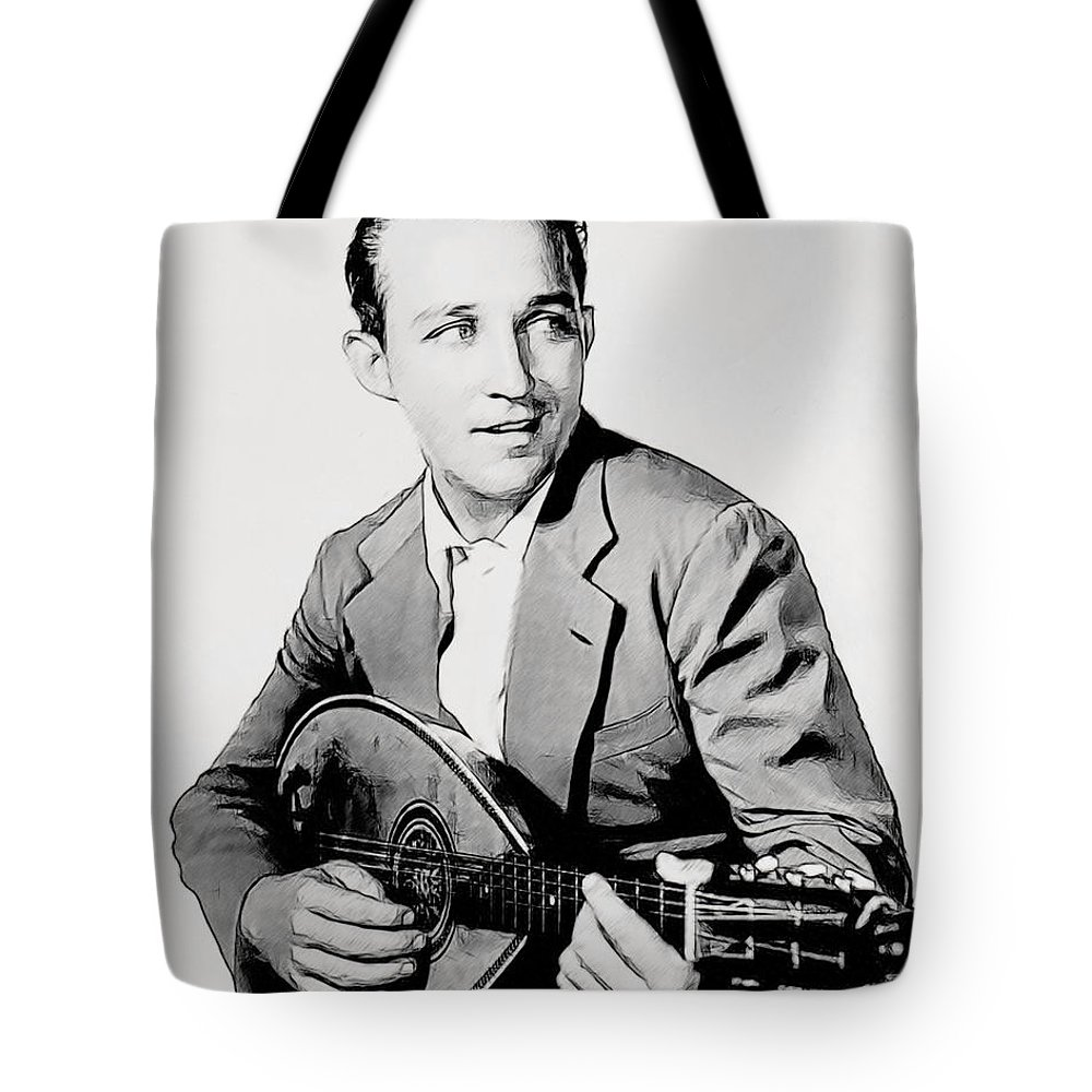 Celebrities Greeting Cards Tote Bag featuring the drawing Bing Crosby 025 by Dean Wittle