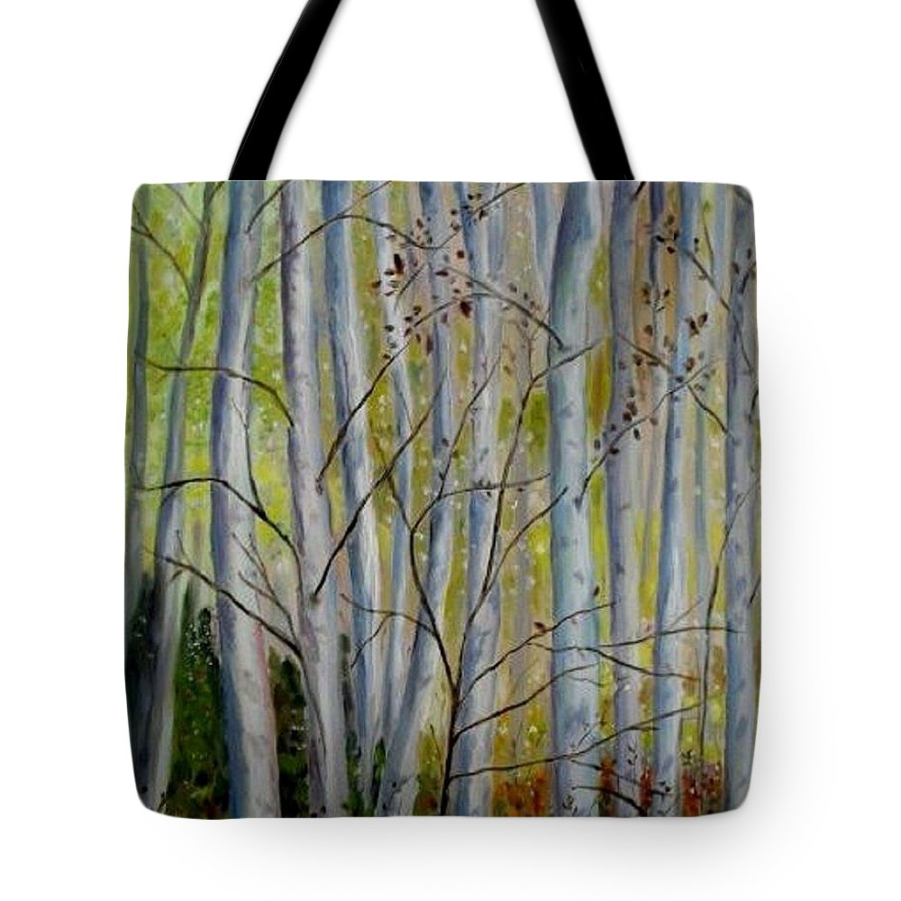 Birch Tote Bag featuring the painting Birch Forest by Julie Brugh Riffey