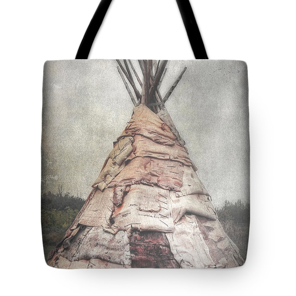 Teepee Tote Bag featuring the photograph Birch Teepee by Deborah Benoit