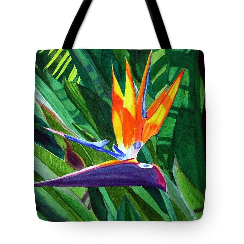 Flower Tote Bag featuring the painting Bird-of-paradise by Mike Robles