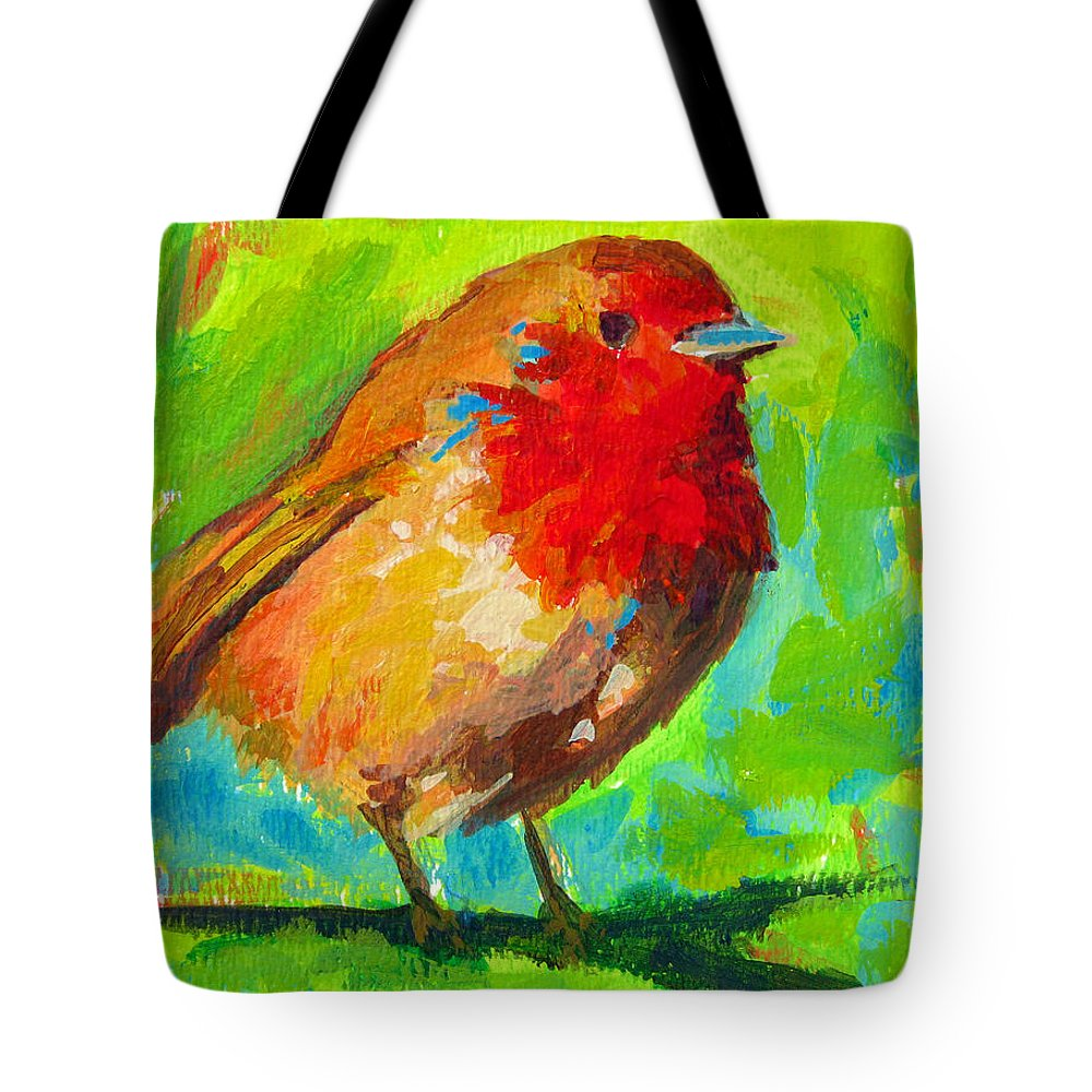 Bird Painting Tote Bag featuring the painting Birdie Bird - Robin by Patricia Awapara