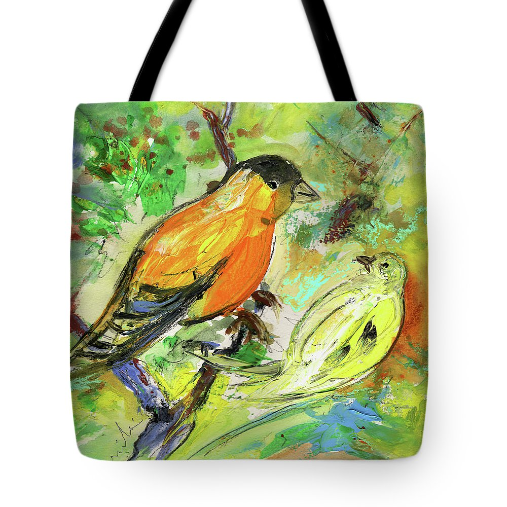 Animals Tote Bag featuring the painting Birds 01 by Miki De Goodaboom