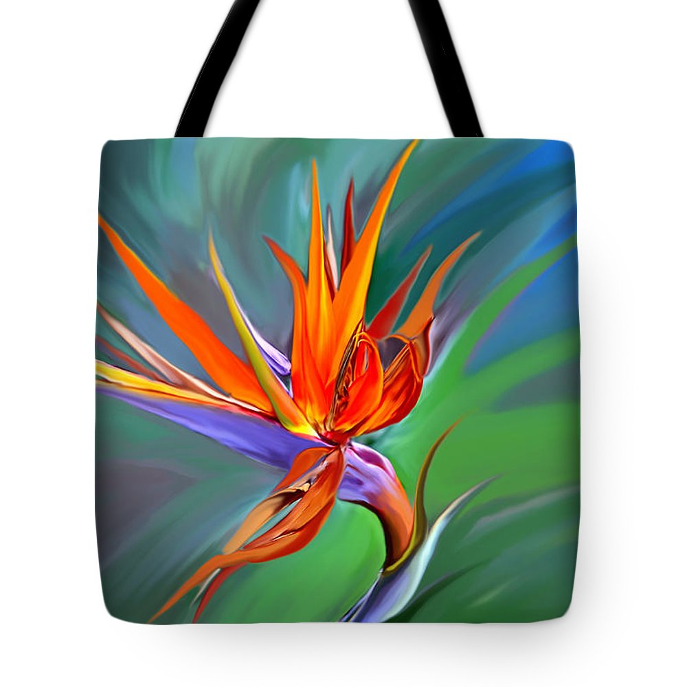 Flower Tote Bag featuring the digital art Birds Of Paradise 1 by James Mingo