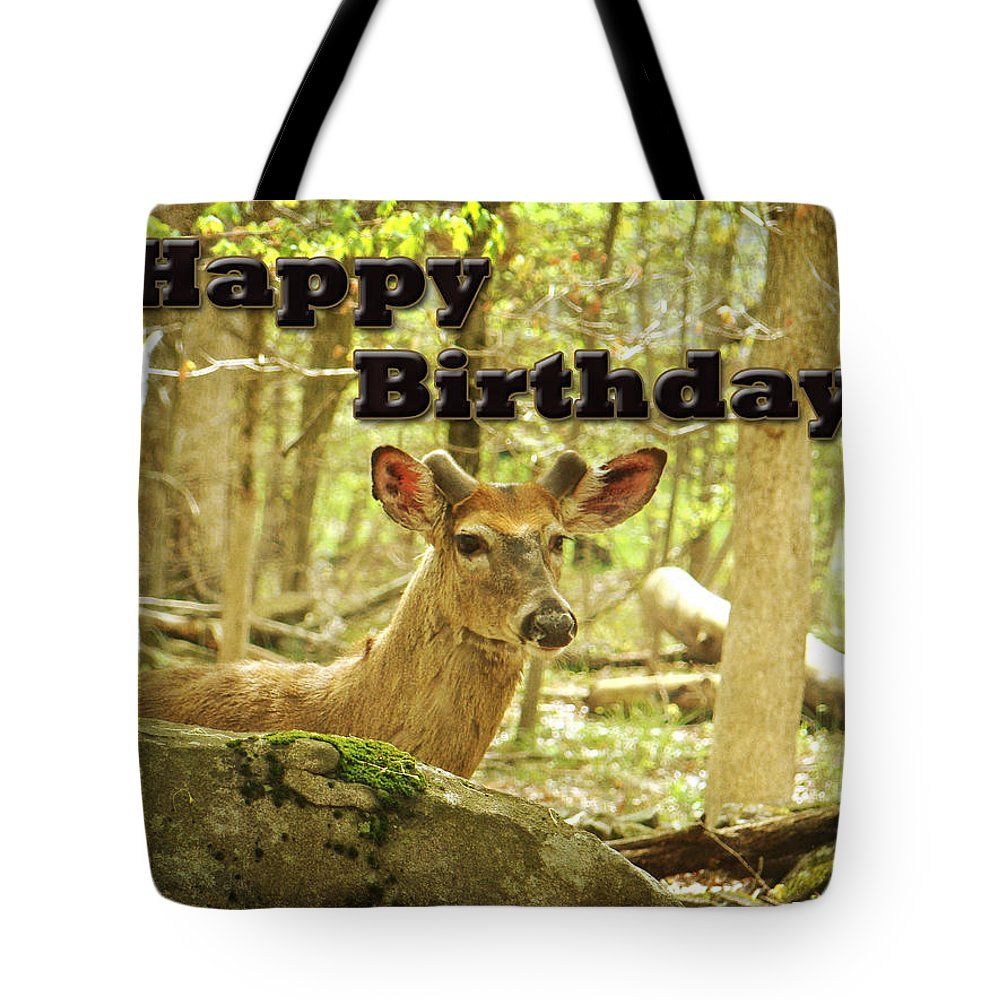 Birthday Tote Bag featuring the photograph Birthday Greeting Card - Whitetail Deer Buck In Velvet by Mother Nature