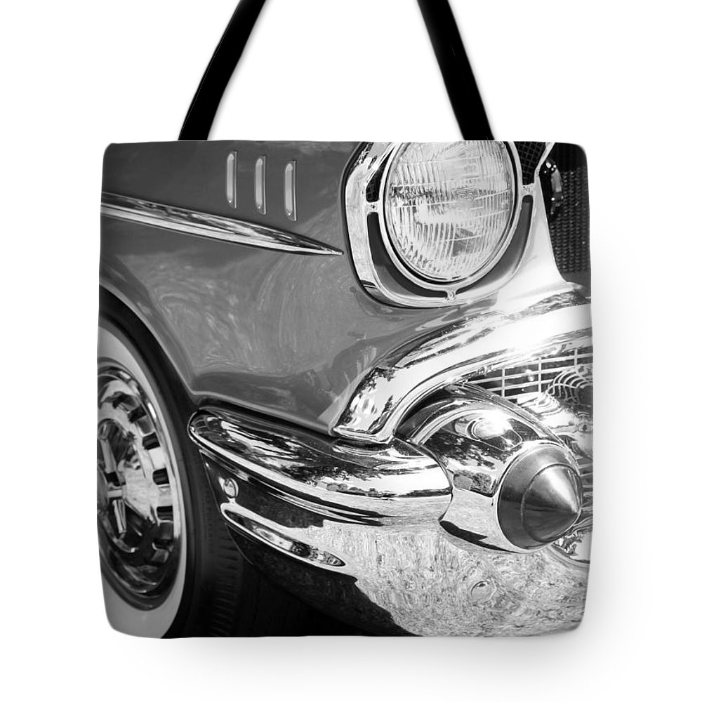 Black And White Tote Bag featuring the photograph Black And White 1957 Chevy by Steve McKinzie