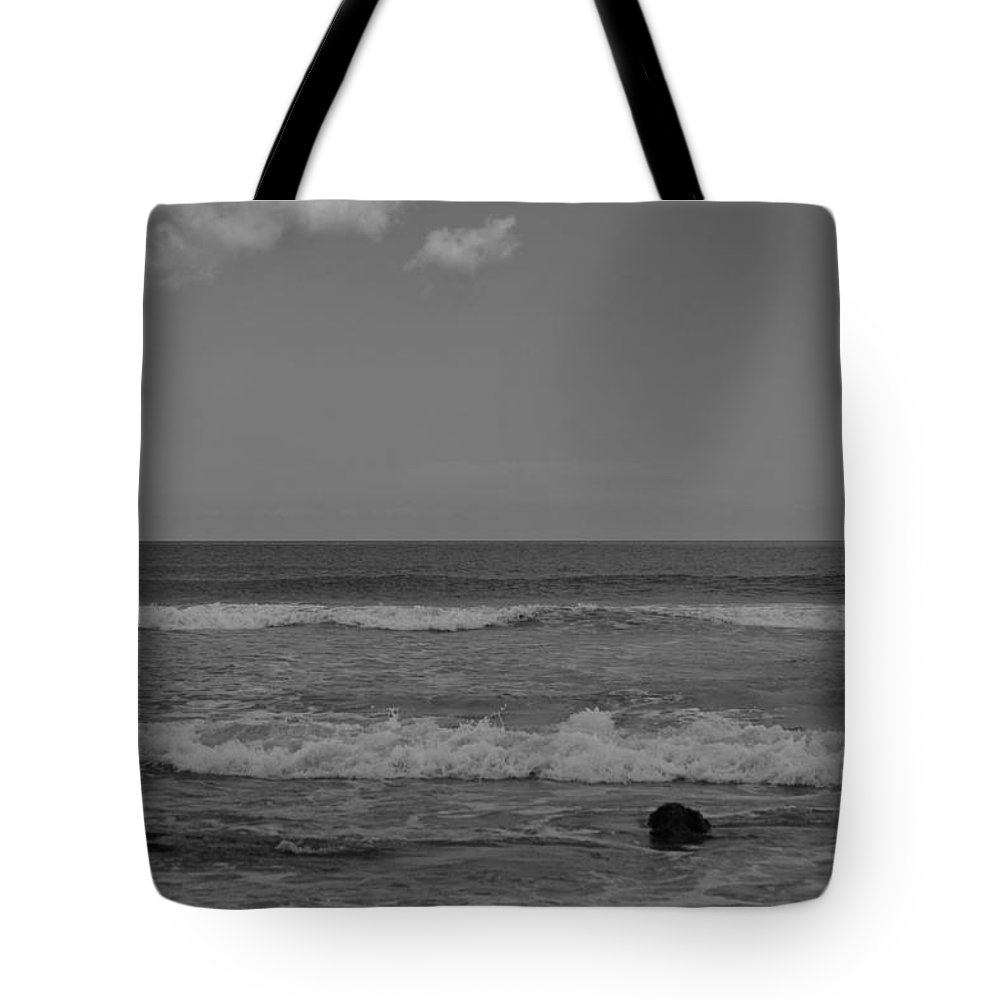 Beach Tote Bag featuring the photograph Black And White Beach by Tiffney Heaning