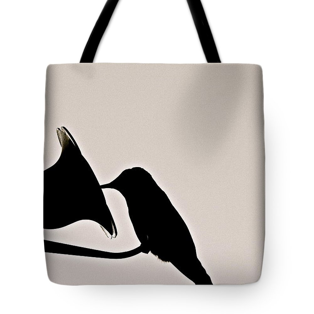 Birds Tote Bag featuring the photograph Black And White Silhouette by Diana Hatcher