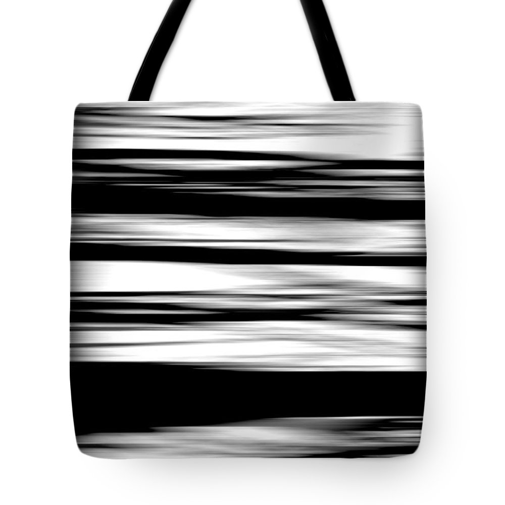 Black Tote Bag featuring the photograph Black And White Striped Wave Pattern by Simon Bratt Photography LRPS