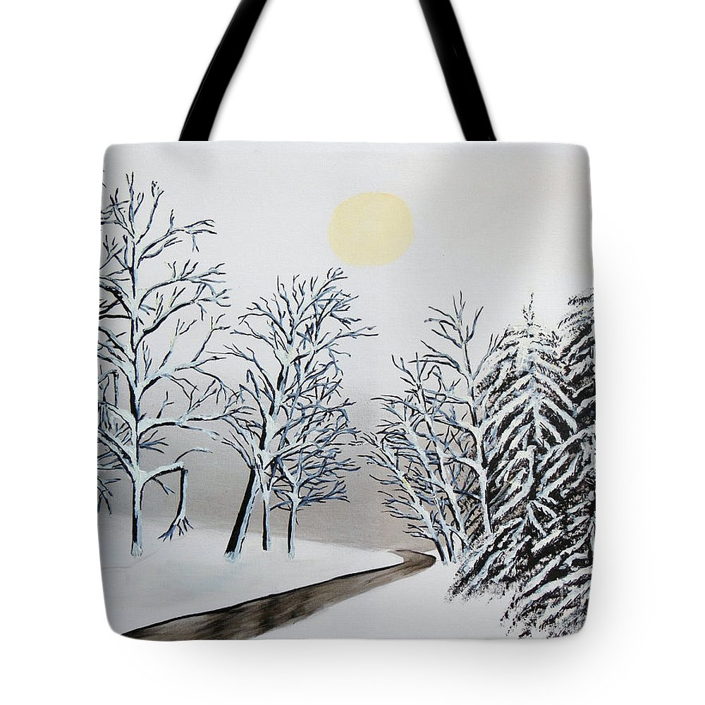 Black And White Woods Tote Bag featuring the painting Black And White Woods by Don Monahan