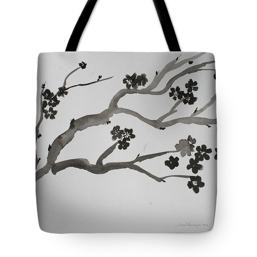 Japanese Cherry Blossom Tote Bag featuring the painting Black Cherry by Alma Yamazaki
