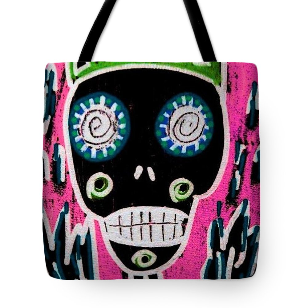 Women Tote Bag featuring the painting Black King Sugar Skull Angel by Sandra Silberzweig