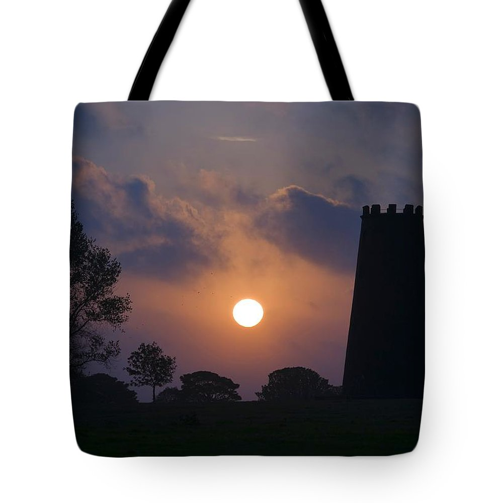 Windmill Tote Bag featuring the photograph Black Mill by Martin Cooper