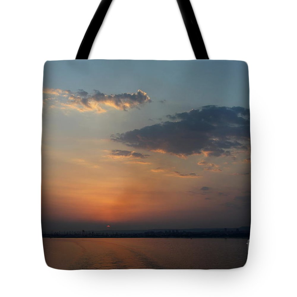 Black Sea Tote Bag featuring the photograph Black Sea - Blue Sunset by Christiane Schulze Art And Photography