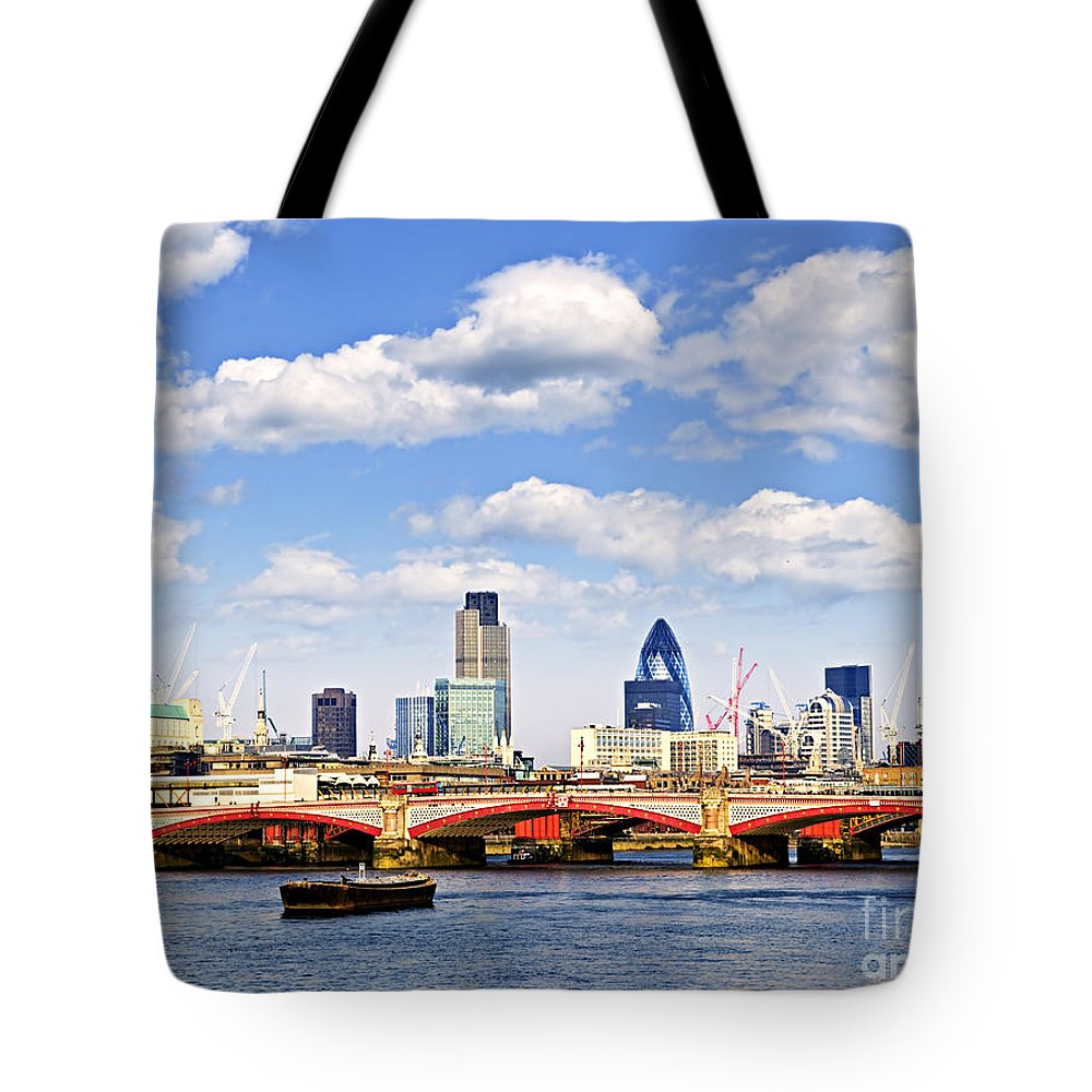 Blackfriars Tote Bag featuring the photograph Blackfriars Bridge With London Skyline by Elena Elisseeva