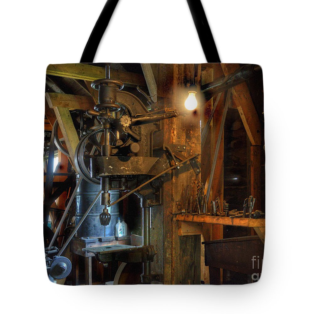 Nostalgia Tote Bag featuring the photograph Blacksmith Workshop by Bob Christopher