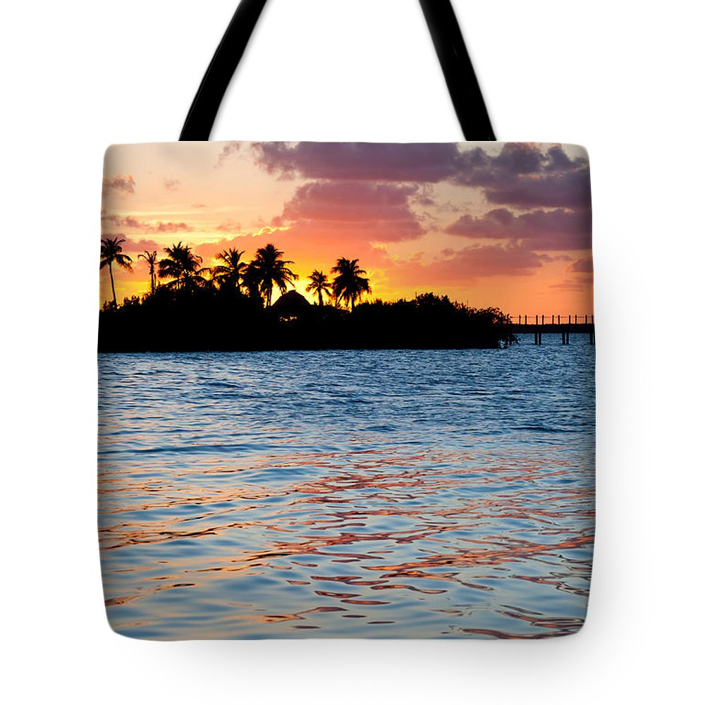 Blazing Tote Bag featuring the photograph Blazing Skies In Islamorada by Michelle Wiarda-Constantine