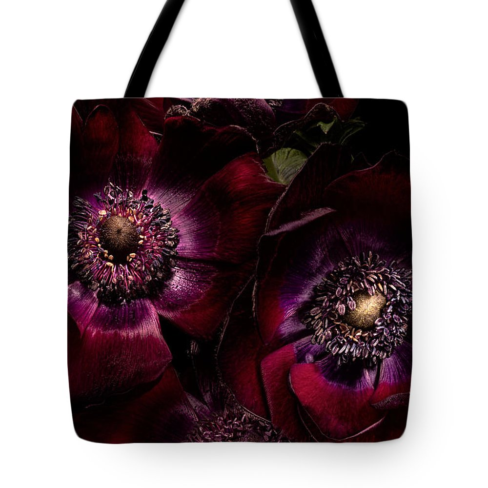 Anemone Tote Bag featuring the photograph Blood Red Anemones by Ann Garrett