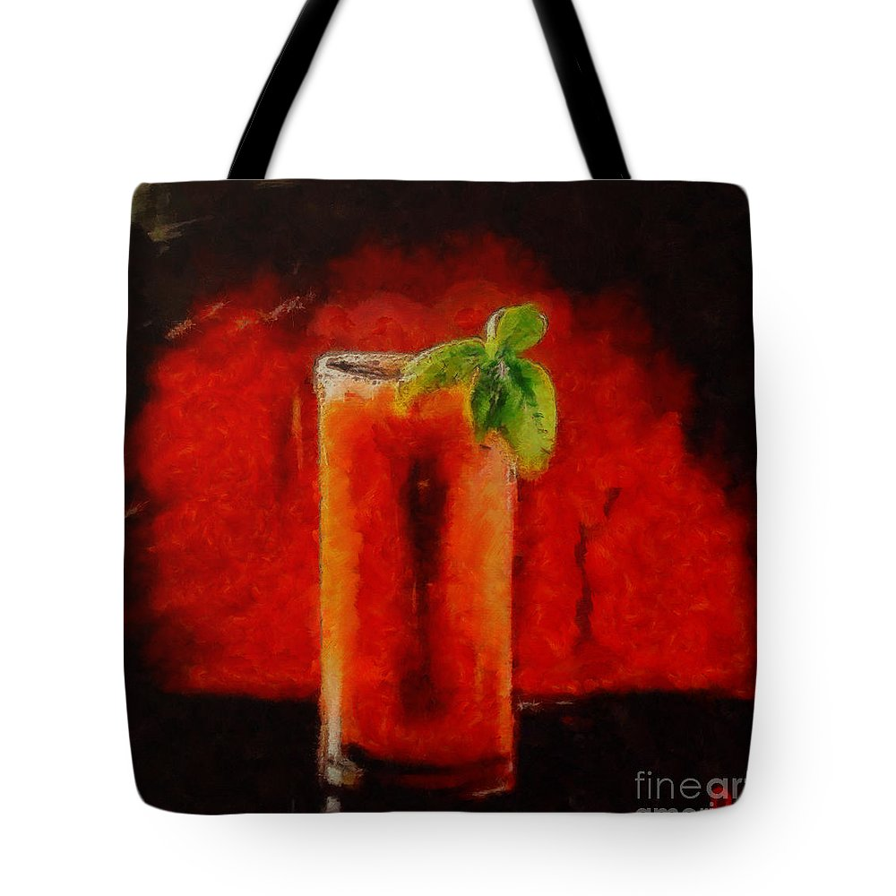 Coctail Tote Bag featuring the painting Bloody Mary Coctail by Dragica Micki Fortuna