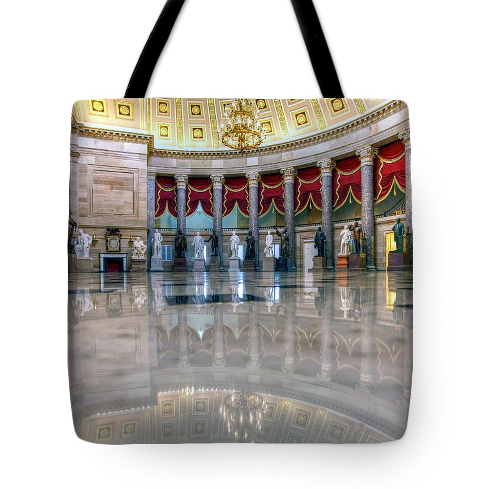 The National Statuary Hall Tote Bag featuring the photograph Blooming With Statues by Mitch Cat