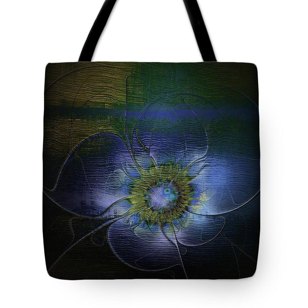 Digital Art Tote Bag featuring the digital art Blue Anemone by Amanda Moore