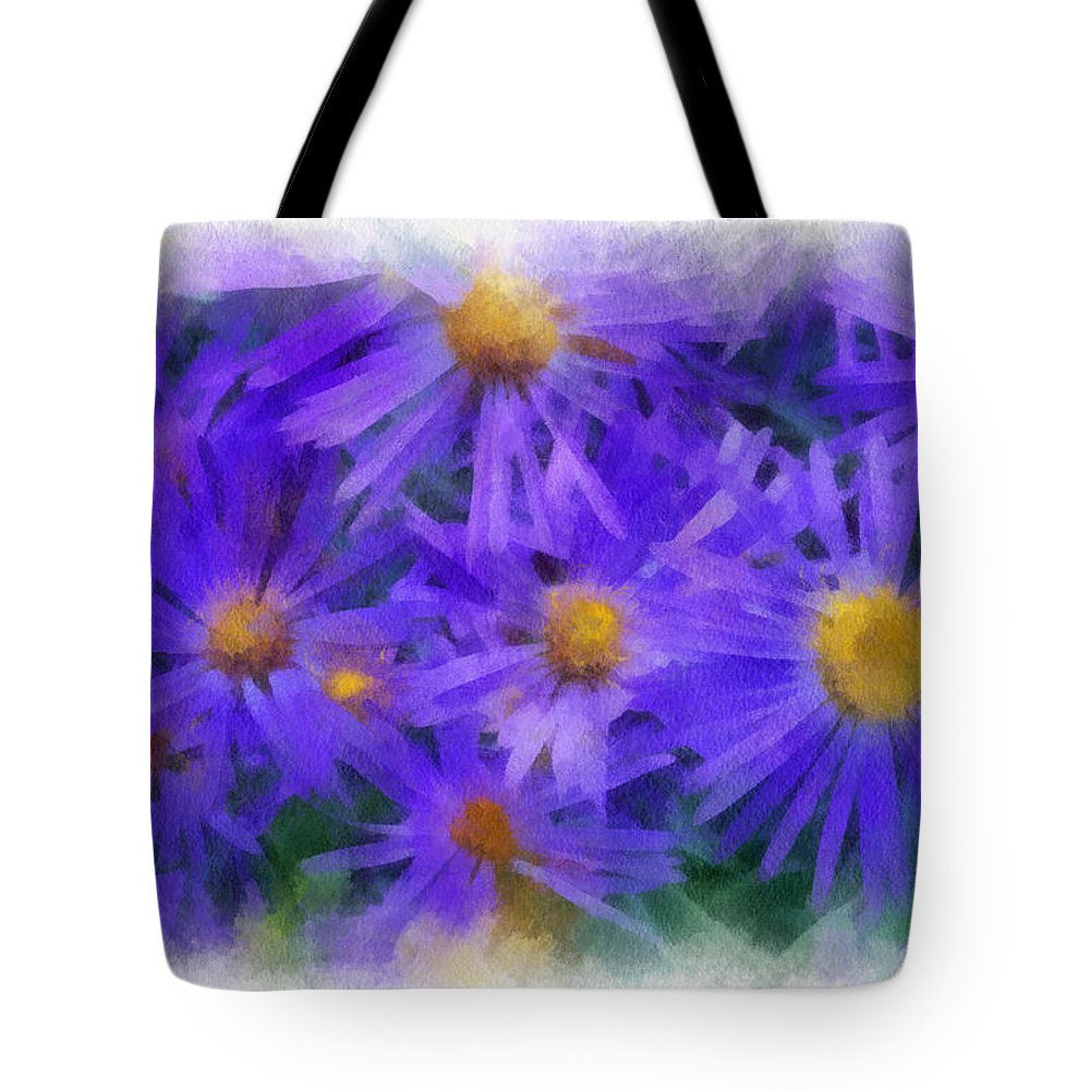 Blue Tote Bag featuring the digital art Blue Asters - Watercolor by Charles Muhle