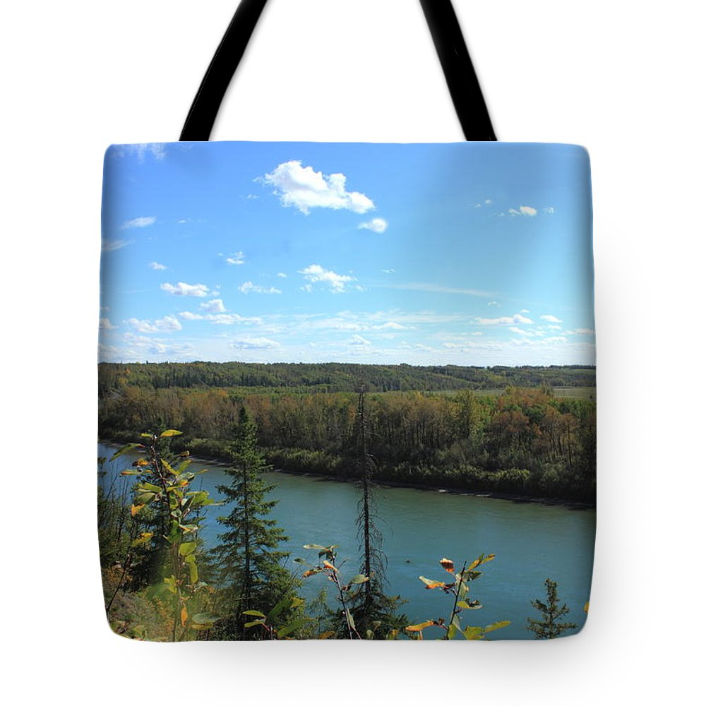 Rivers Tote Bag featuring the photograph Blue Autumn Waters by Jim Sauchyn