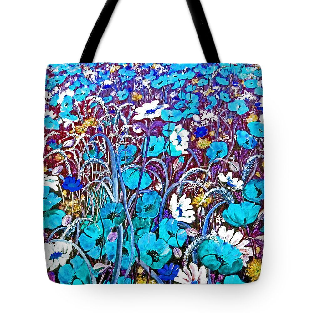 Blue Floral Tote Bag featuring the painting Blue Blue God Loves You by Karin Dawn Kelshall- Best