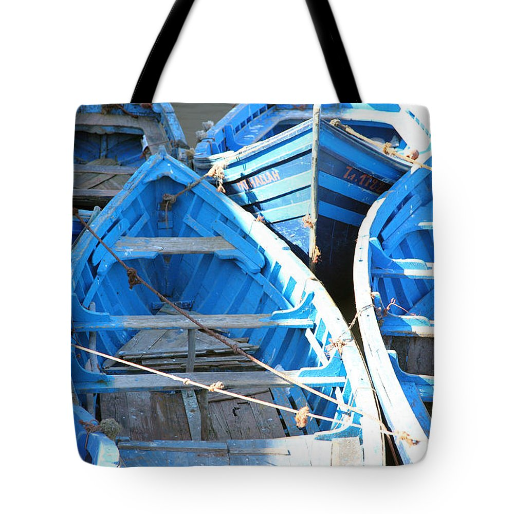 Morocco Tote Bag featuring the photograph Blue Boats by Milena Boeva