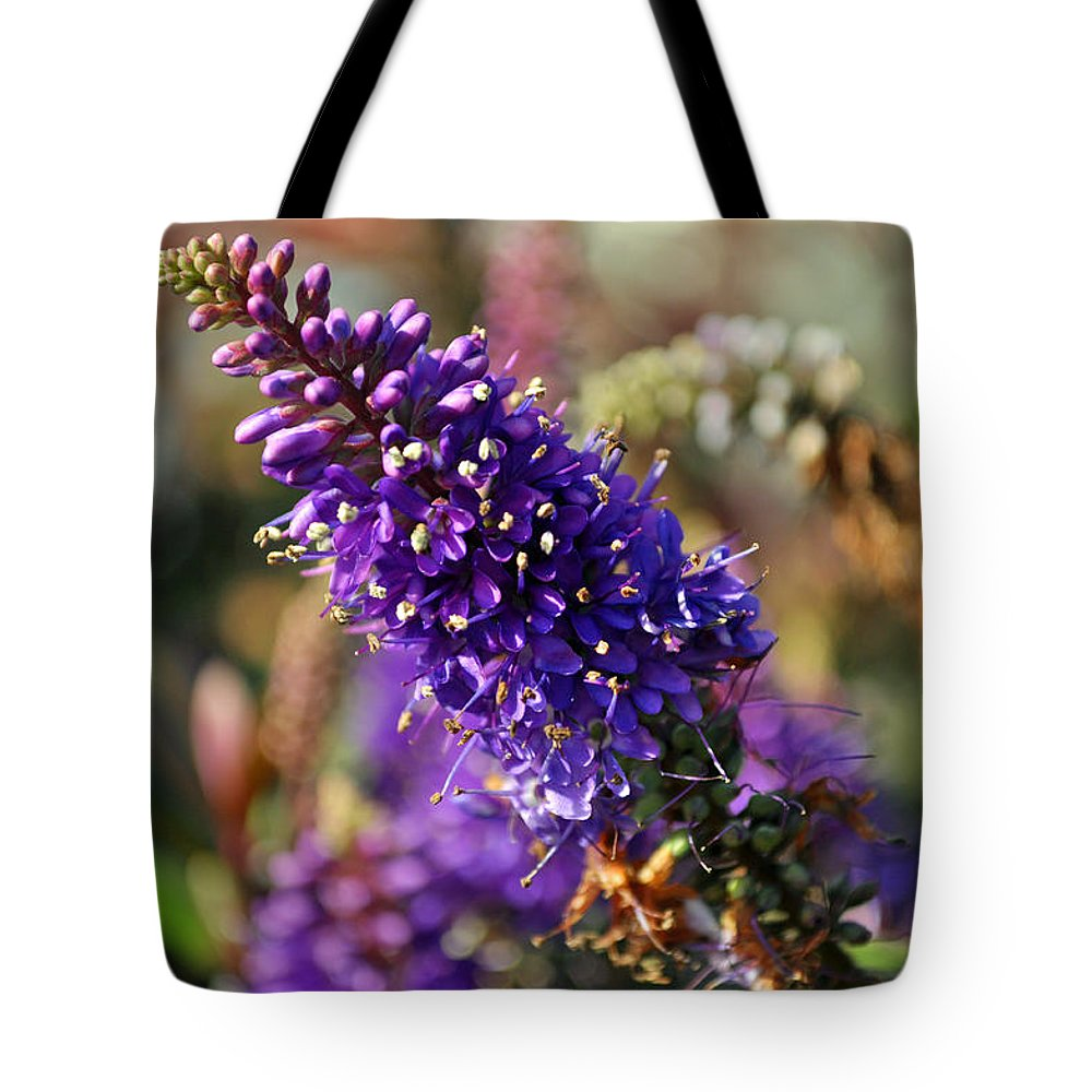 Aquatic Tote Bag featuring the photograph Blue Brush Bloom by Tikvah's Hope