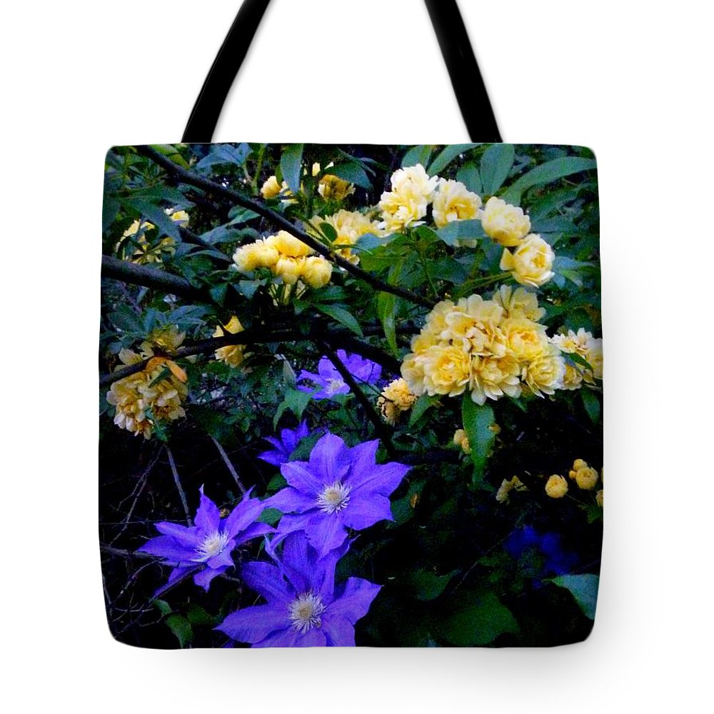 Clematis Tote Bag featuring the photograph Blue Clematis With Yellow Lady Banks Rose by Renee Trenholm