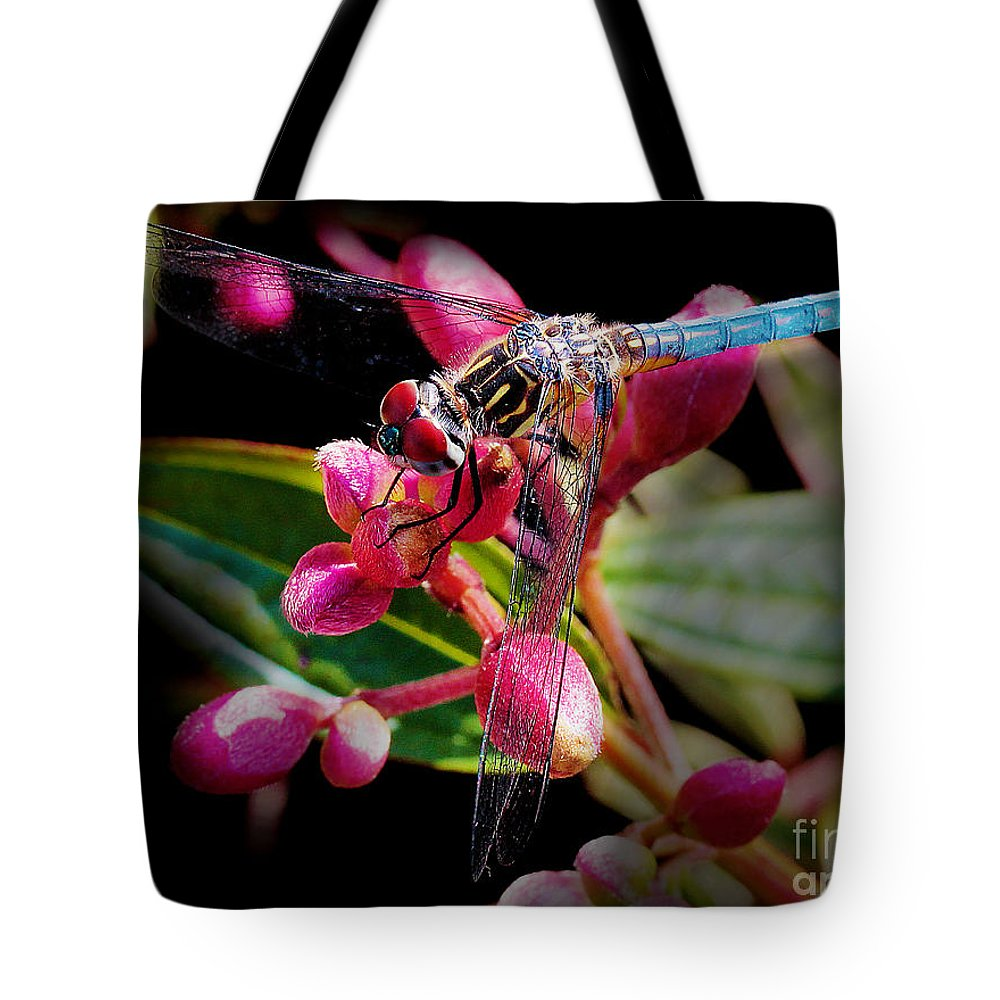Dragonfly Tote Bag featuring the photograph Blue Dasher Dragonfly by Judi Bagwell
