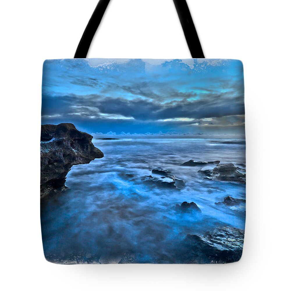 Blowing Rocks Tote Bag featuring the photograph Blue Dawn by Debra and Dave Vanderlaan