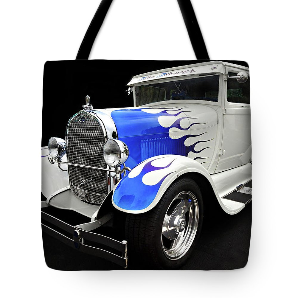 Custom Car Tote Bag featuring the photograph Blue Flames by Dave Mills