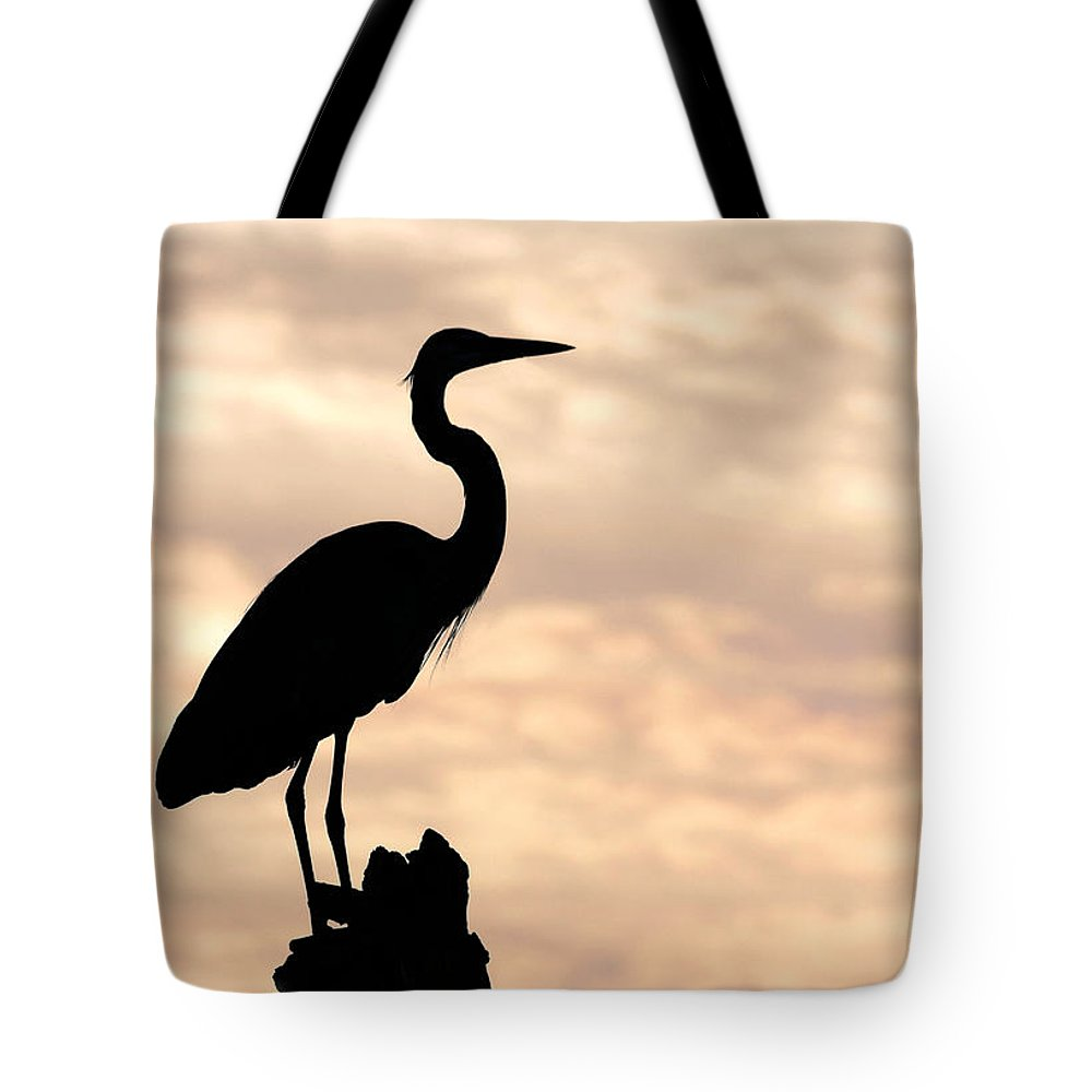 Bird Tote Bag featuring the photograph Blue Heron Silhouette by Rudy Umans