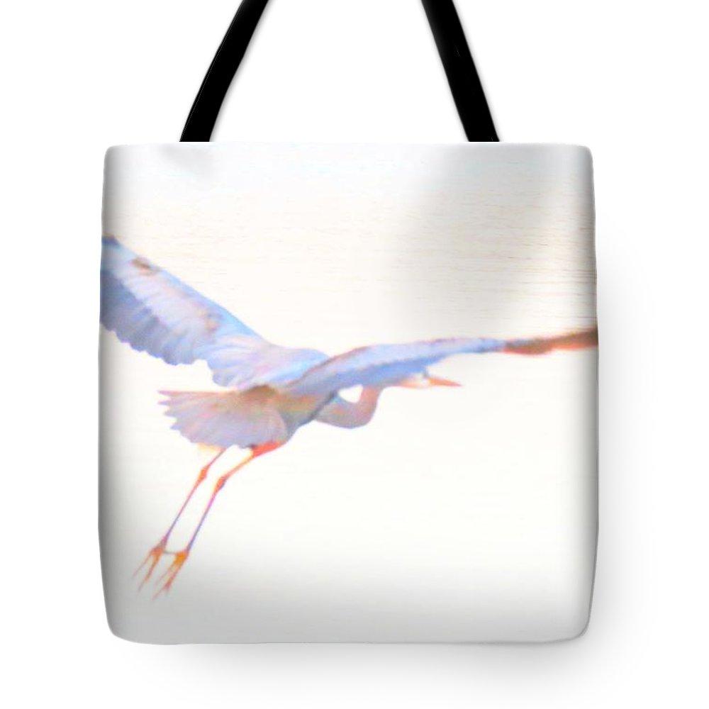 Blue Heron Tote Bag featuring the digital art Blue Heron Takeoff II by Rrrose Pix