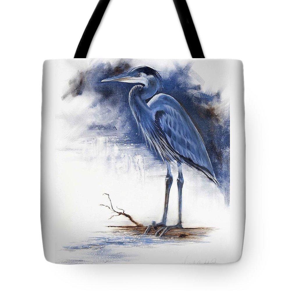 Blue Heron Tote Bag featuring the painting Blue Heron by Virgil Stephens