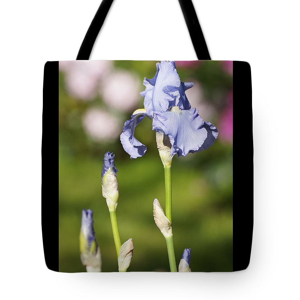 Sky Tote Bag featuring the photograph Blue Iris Close Up - Dsc03741 by Shirley Heyn