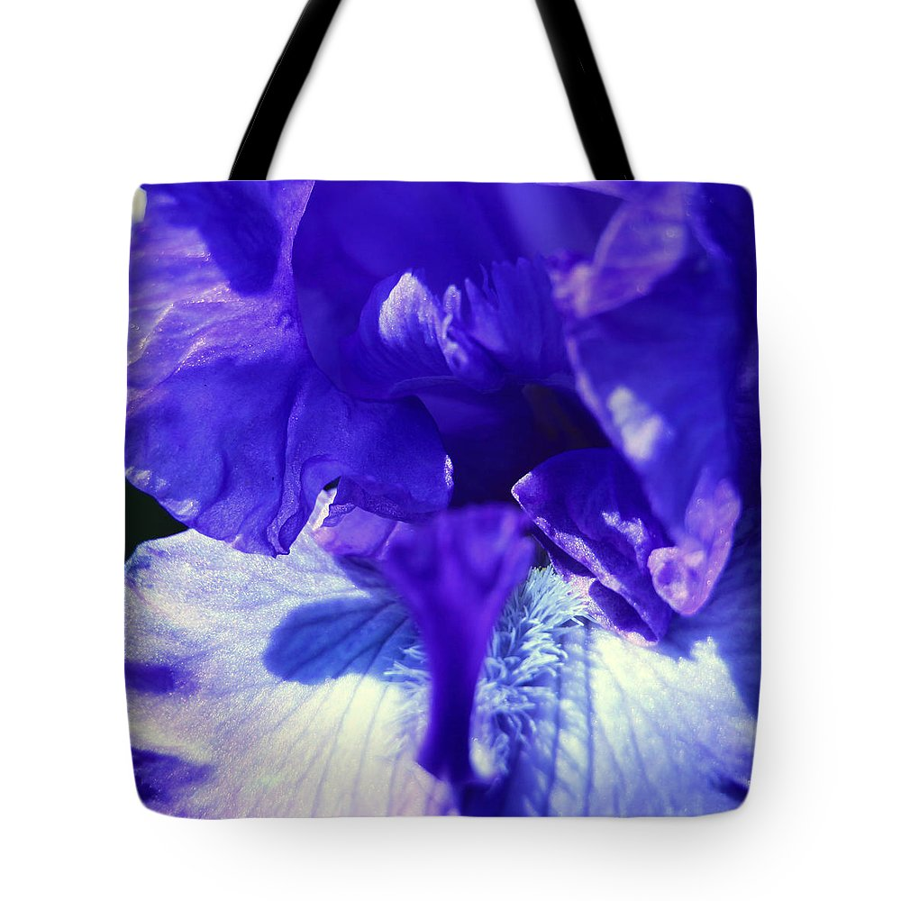 Blue Tote Bag featuring the photograph Blue Iris by Donna Corless