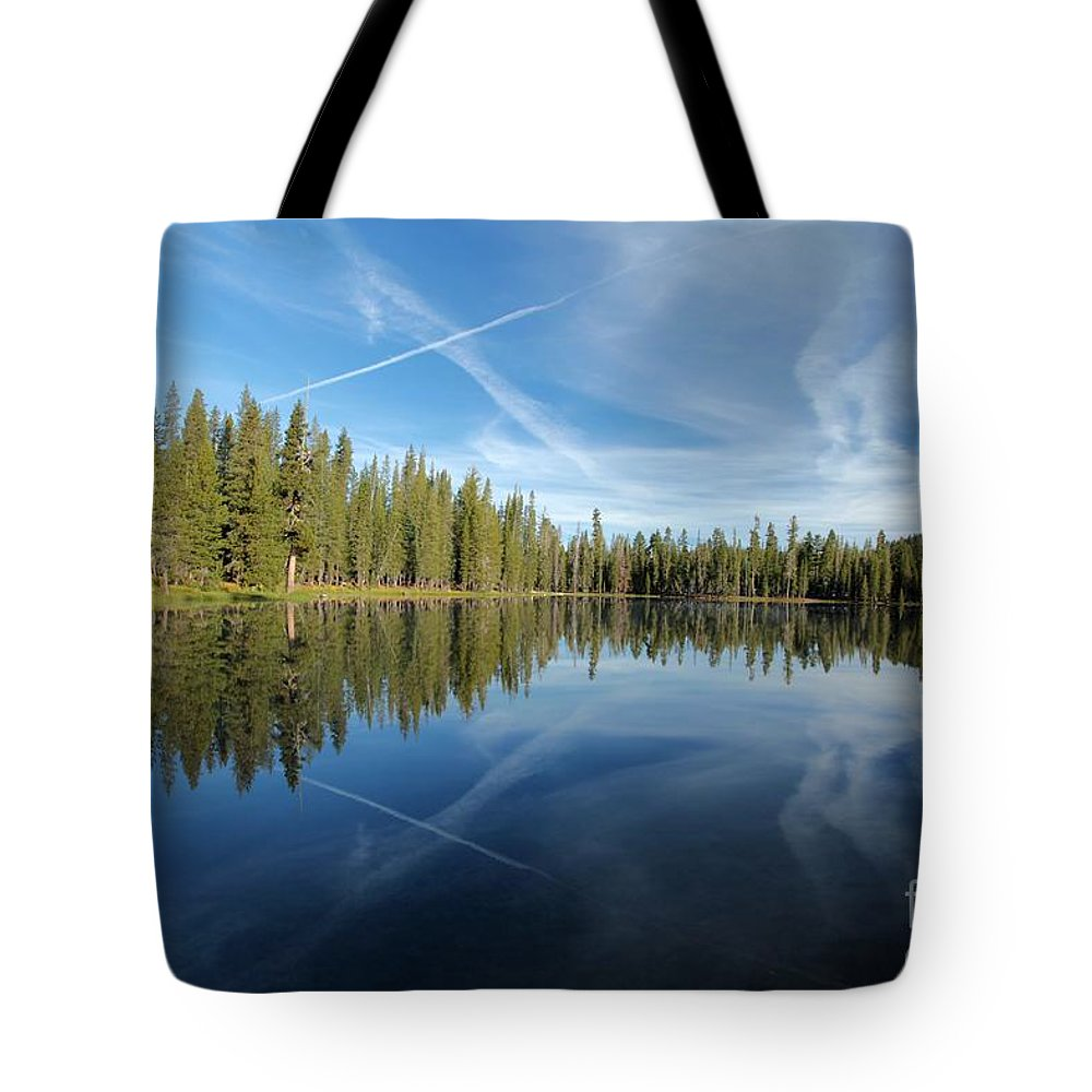 Summit Lake Tote Bag featuring the photograph Blue Mirror by Adam Jewell