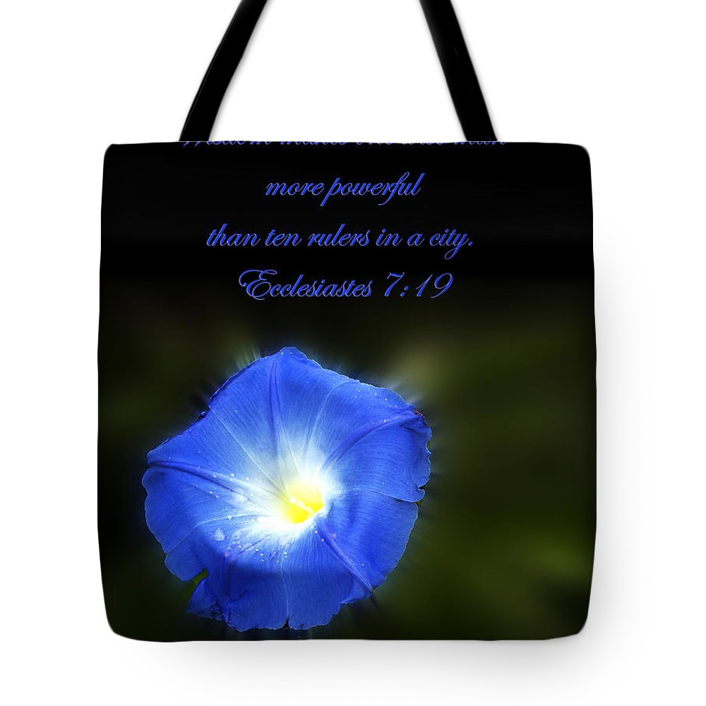 Bible Verse Flowers Tote Bag featuring the photograph Blue Morning Glory by Randall Branham