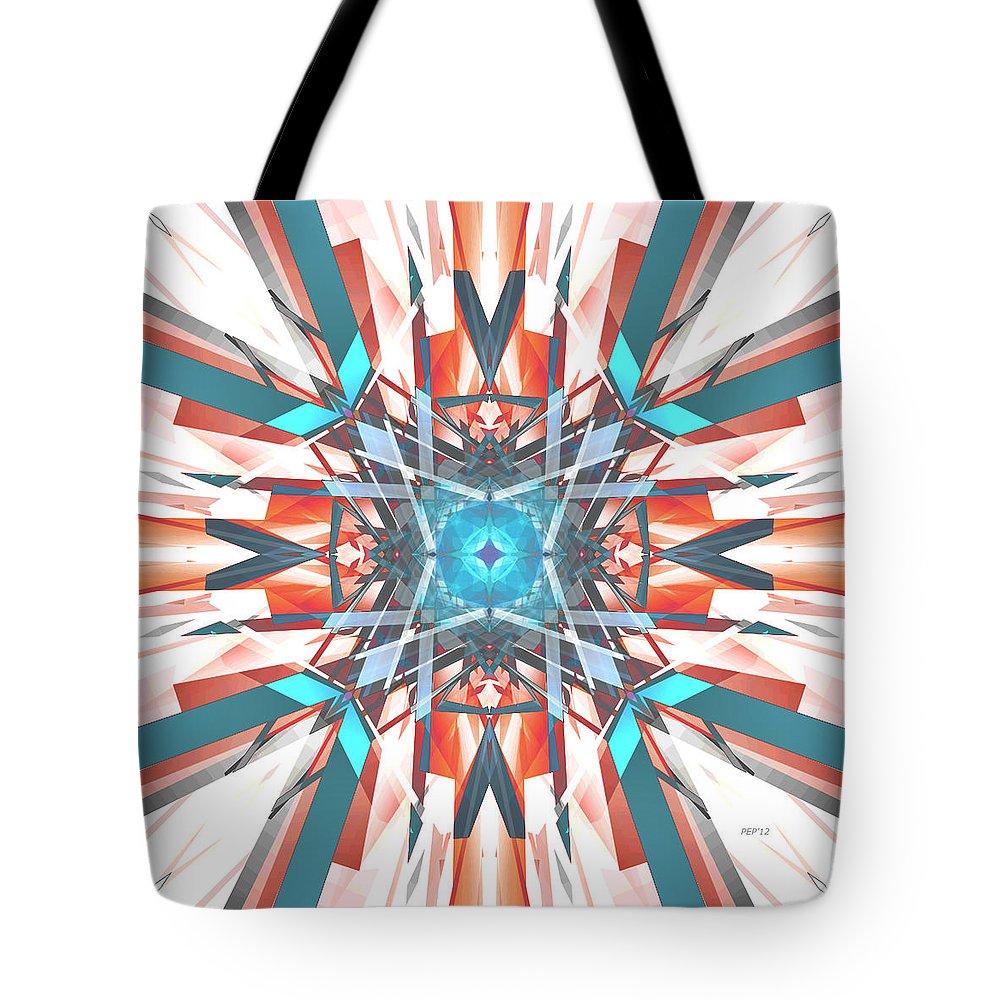 Digital Art Tote Bag featuring the digital art Blue Orange Kaleidoscope by Phil Perkins