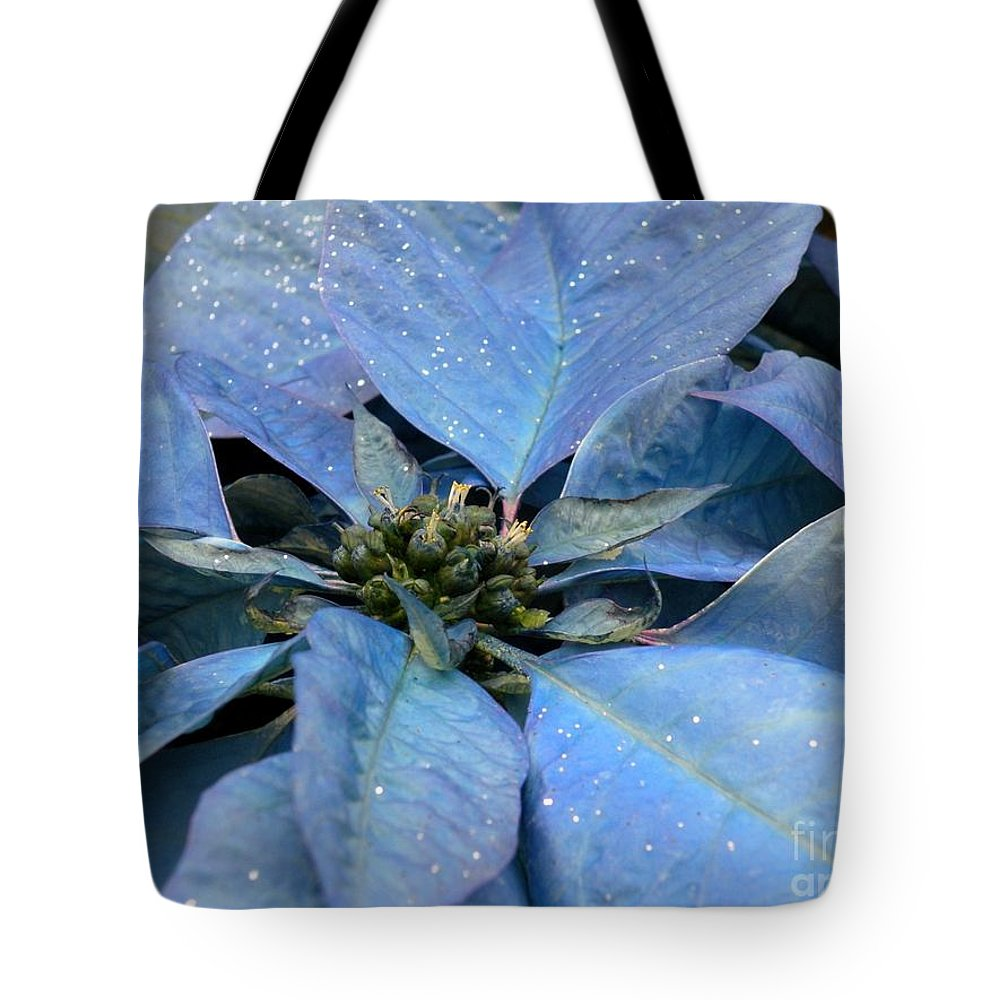 Floral Photos Tote Bag featuring the photograph Blue Poinsettia by Saundra Lane Galloway