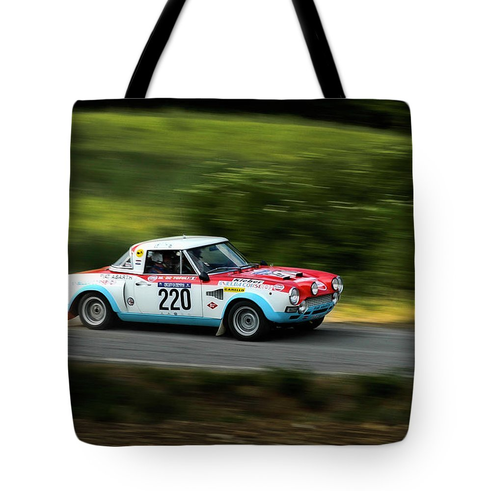 Car Tote Bag featuring the photograph Blue Red And White Fiat Abarth by Alain De Maximy
