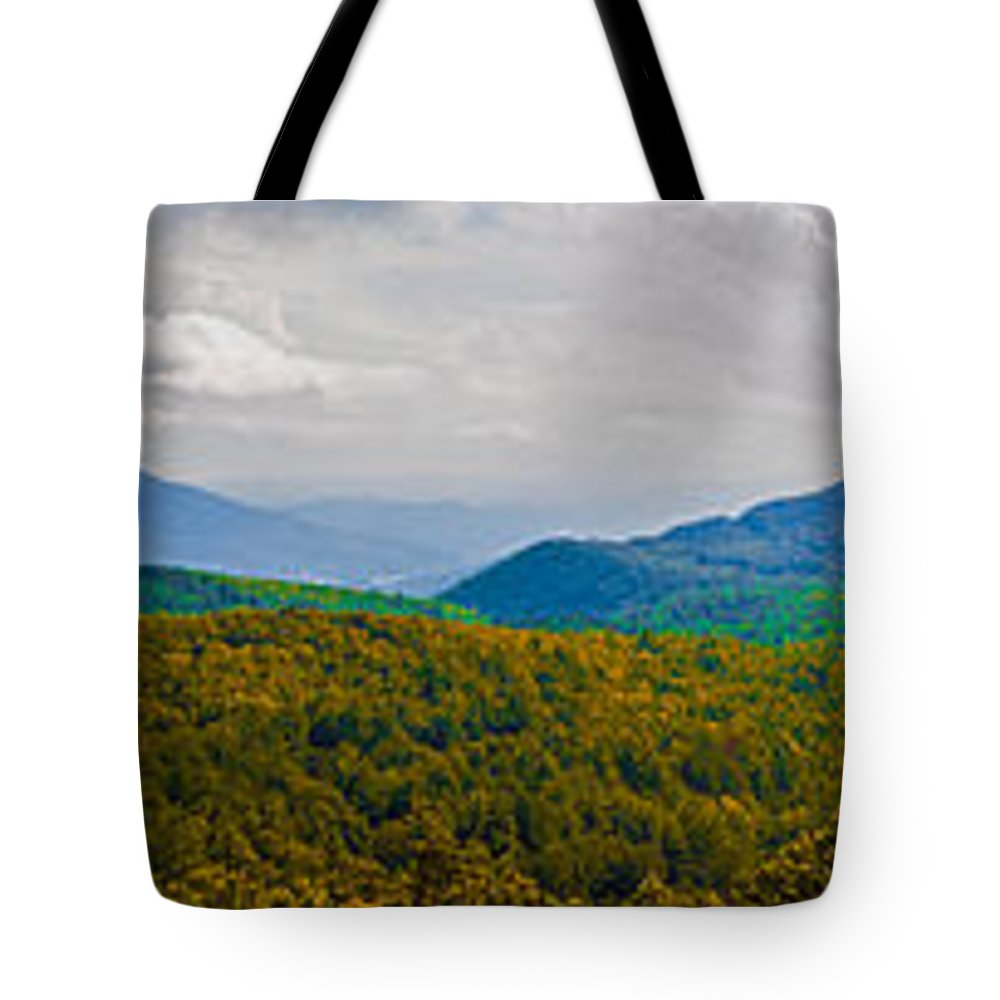 Panorama Tote Bag featuring the photograph Blue Ridge Panorama by Scott Hervieux