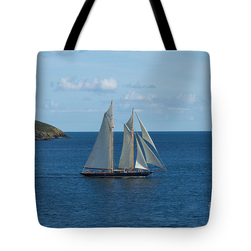 Falmouth Tote Bag featuring the photograph Blue Schooner 04 by Brian Roscorla