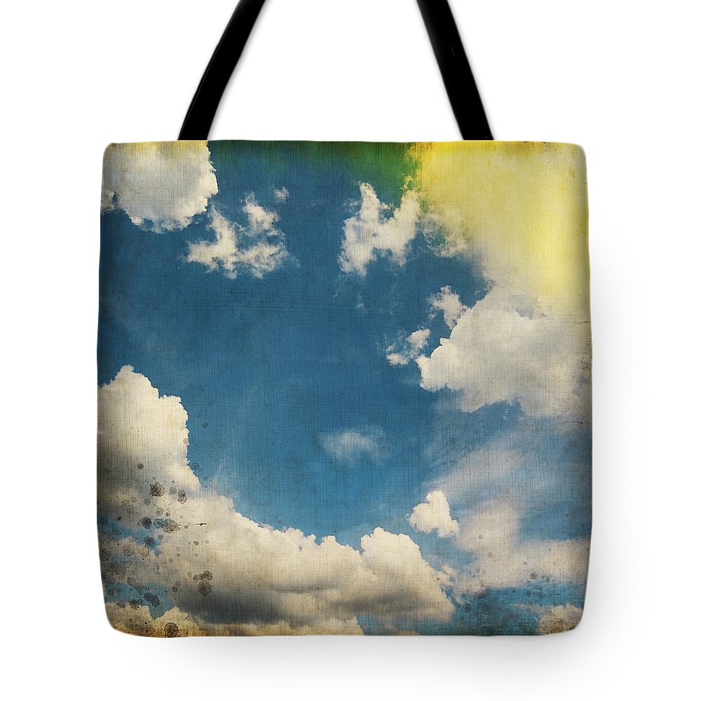 Abstract Tote Bag featuring the photograph Blue Sky On Old Grunge Paper by Setsiri Silapasuwanchai