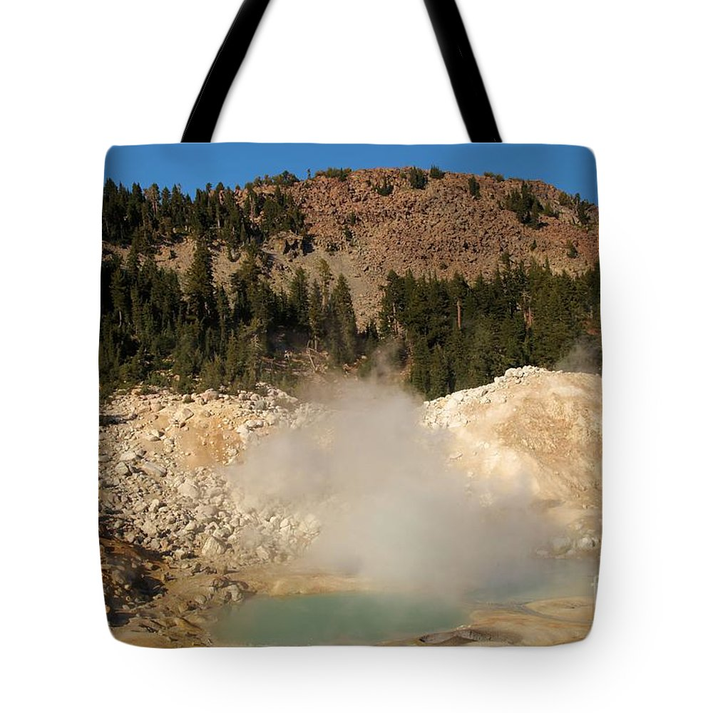 Lassen Volcanic National Park Tote Bag featuring the photograph Blue Steaming Pools by Adam Jewell