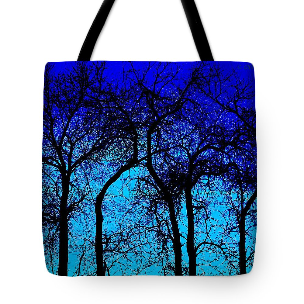 Treeline Tote Bag featuring the photograph Blue Sunset by Chris Berry